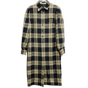 Vtg Wool Blend Plaid Shirtdress w/ Gold Buttons L